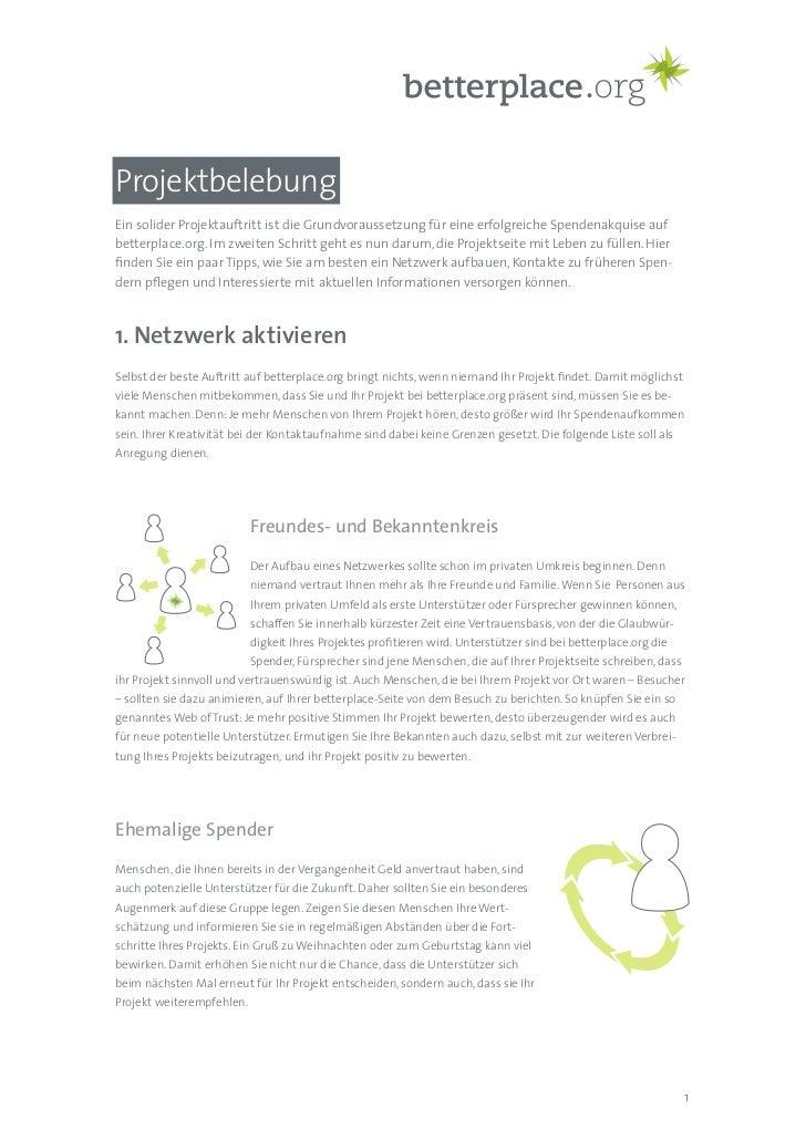 Projektbelebung Ein solider Projektauftritt ist die Grundvoraussetzung für eine erfolgreiche Spendenakquise auf betterplac...