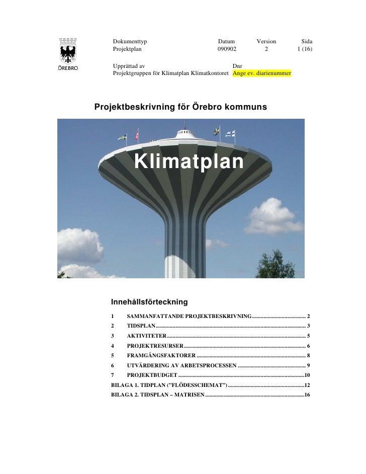 Projektbeskrivning för Örebro kommuns klimatplan