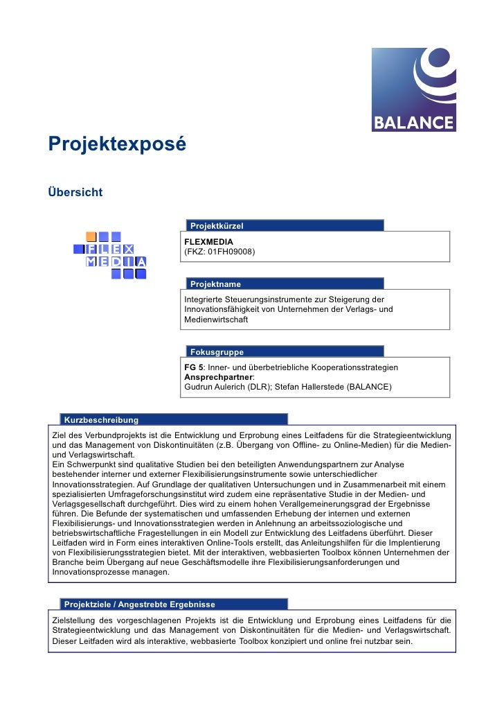 Projektexposé  Übersicht                                       Projektkürzel                                    FLEXMEDIA ...