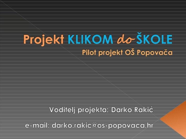 Projekt Klikom Do šKole Za Roditelje