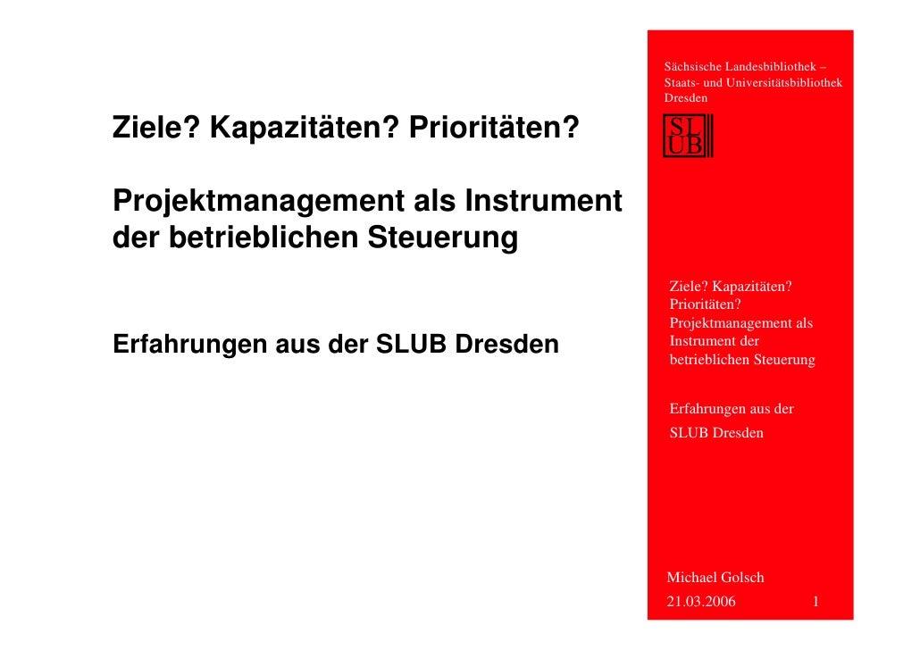Projektmanagement als Instrument der betrieblichen Steuerung