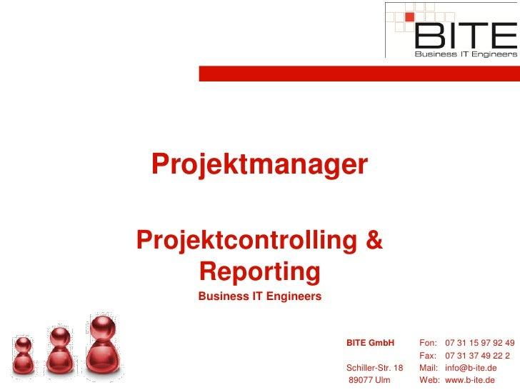 Projektmanager  Projektcontrolling &      Reporting      Business IT Engineers                                BITE GmbH   ...