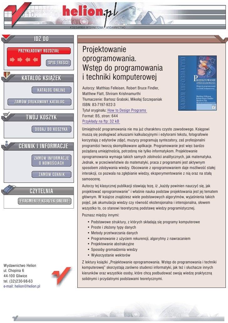 Projektowanie oprogramowania. Wstęp do programowania i techniki komputerowej