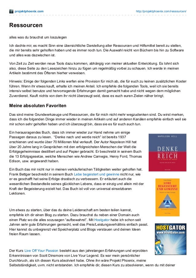 projektphoenix.com http://projektphoenix.com/ressourcen/ Ressourcen alles was du brauchst um loszulegen Ich dachte mir, es...