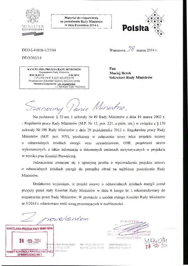 MINISTER GOSPOOARKI DE0-1-41Ol0-1/27/14 DE0/363114 Materiał do rozpatrzenia na posiedzeniu Rady Ministrów w dniu 8 kwietni...