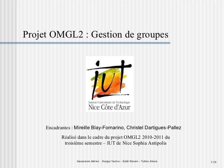 Gausseran Adrien  –  Rezgui Yacine - Siddi Steven - Tutino Alexis Projet OMGL2 : Gestion de groupes Réalisé dans le cadre ...