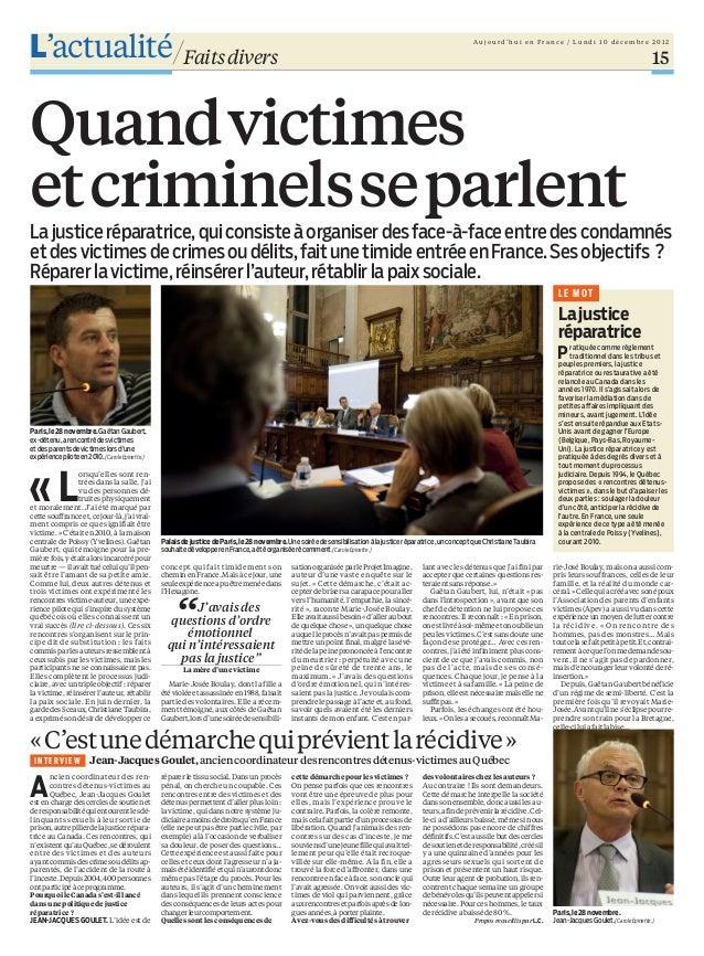 Article du Parisien sur la Justice Restaurative - 10 déc 2012