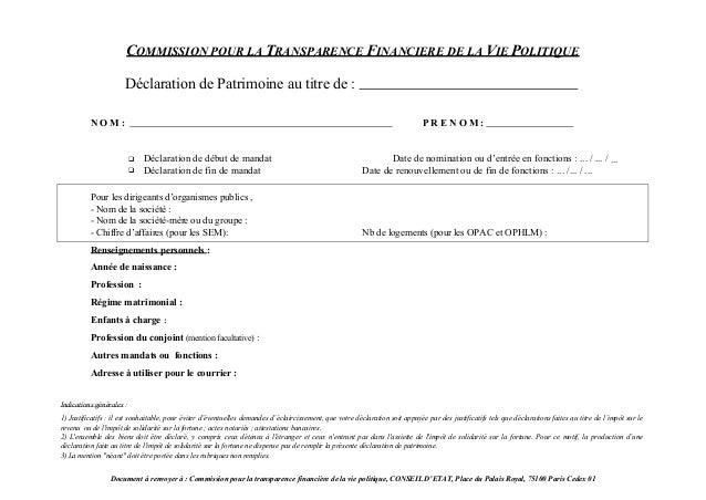 COMMISSION POUR LA TRANSPARENCE FINANCIERE DE LA VIE POLITIQUE                      Déclaration de Patrimoine au titre de ...