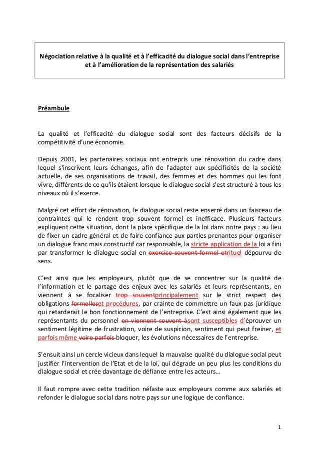 1    Négociationrelativeàlaqualitéetàl'efficacitédudialoguesocialdansl'entreprise etàl'améliorationde...