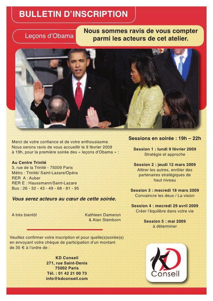 BULLETIN D'INSCRIPTION                                           Nous sommes ravis de vous compter         Leçons d'Obama ...