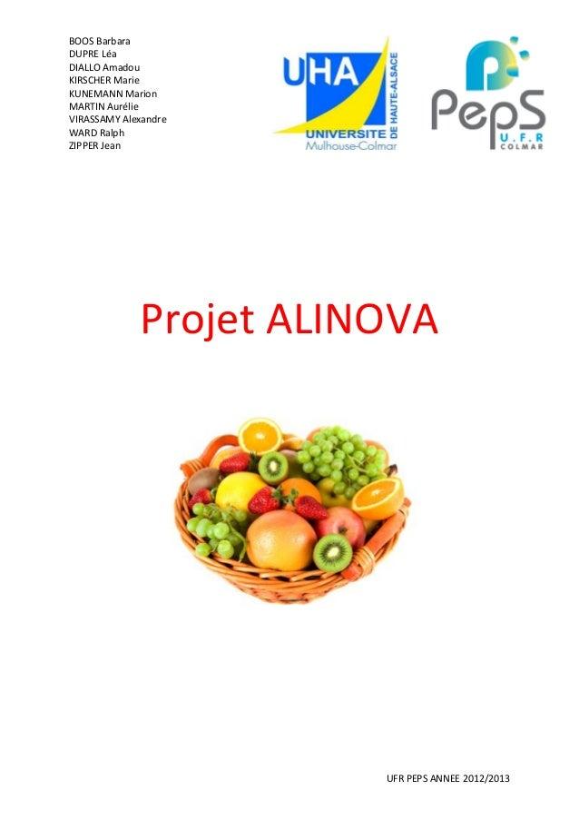 Projet Alinova : Commercialisation d'un produit alimentaire innovant