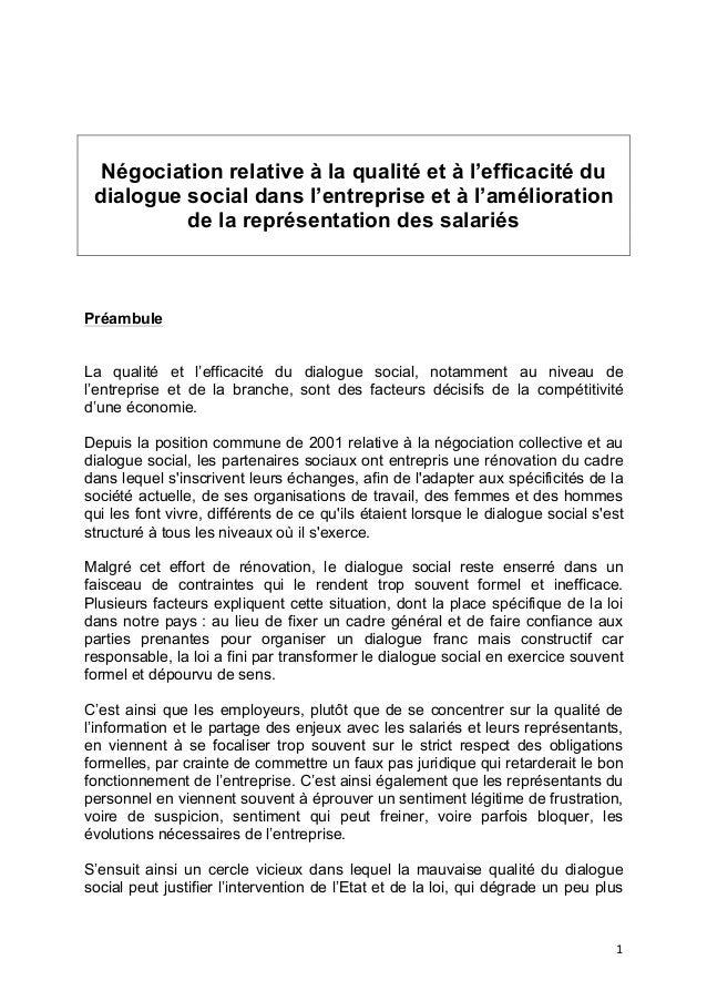 1      Négociation relative à la qualité et à l'efficacité du dialogue social dans l'entreprise et à l'amélioration de...