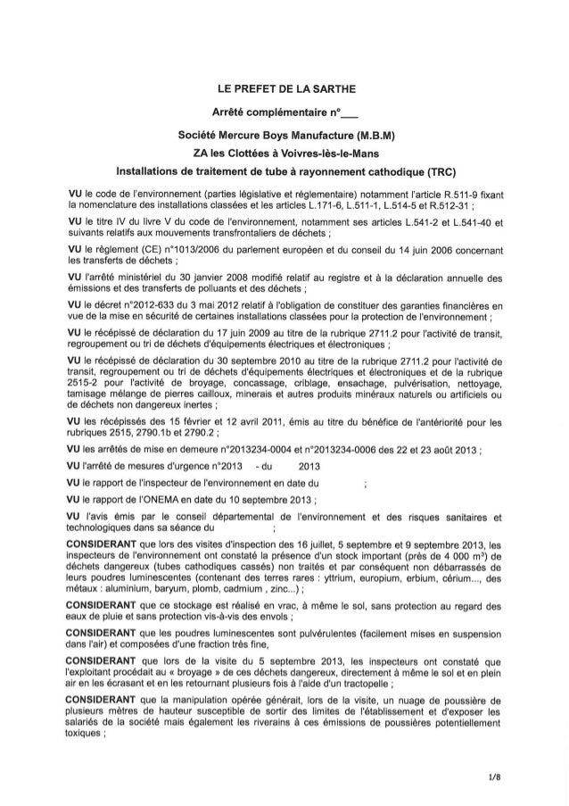 Projet arrêté préfectoral - Société Mercure Boys Manufacture (MBM)
