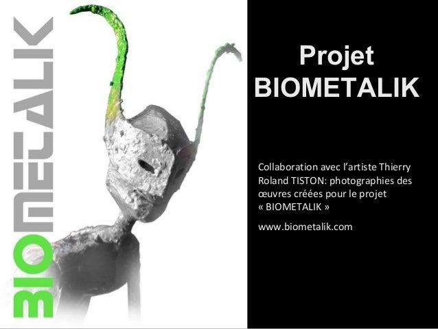 Projet BIOMETALIK Collaboration avec l'artiste Thierry Roland TISTON: photographies des œuvres créées pour le projet « BIO...
