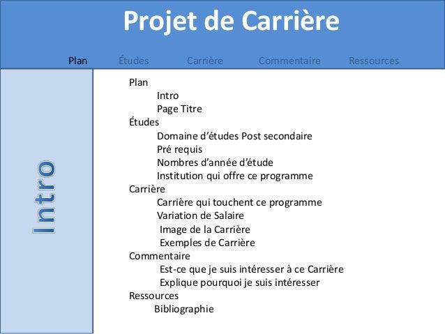 Projet de Carrière Plan Études Carrière Commentaire Ressources Plan Intro Page Titre Études Domaine d'études Post secondai...