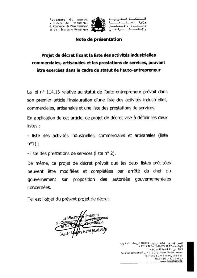 Le Mine du Commet Royaume du Maroc Ministère de t'Industrie, du Commerce, de l'Investissement et de l'Economie Numérique :...
