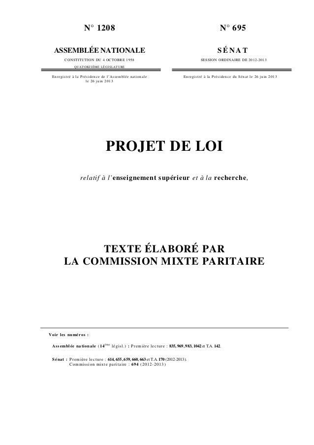 N° 1208 ASSEMBLÉE NATIONALE CONSTITUTION DU 4 OCTOBRE 1958 QUATORZIÈME LÉGISLATURE N° 695 S É N A T SESSION ORDINAIRE DE 2...