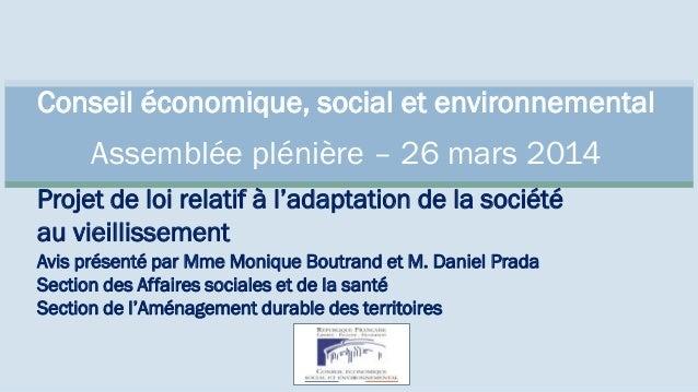 Conseil économique, social et environnemental Assemblée plénière – 26 mars 2014 Projet de loi relatif à l'adaptation de la...
