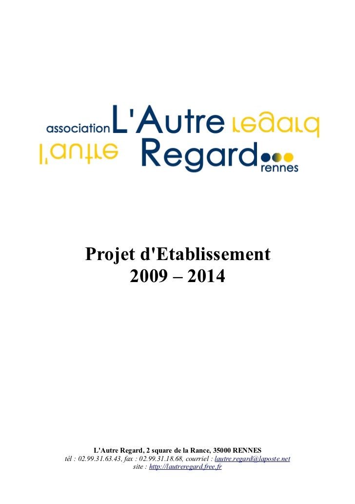 Projet d'etablssement 2009 2014 l'autre regard