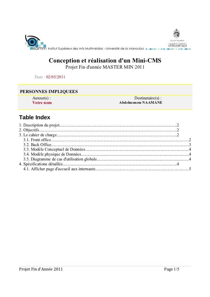 Conception et réalisation dun Mini-CMS                                        Projet Fin dannée MASTER MIN 2011           ...