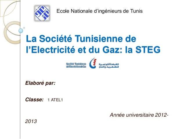 Ecole Nationale d'ingénieurs de TunisLa Société Tunisienne del'Electricité et du Gaz: la STEGElaboré par:Classe:   1 ATEL1...