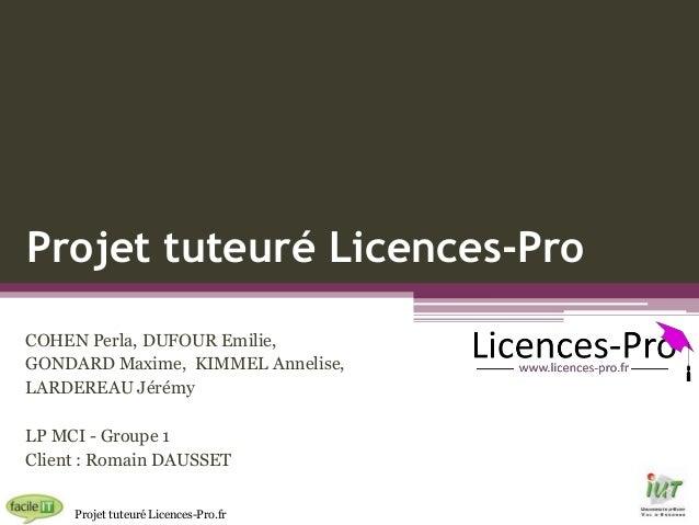 Projet tuteuré Licences-Pro COHEN Perla, DUFOUR Emilie, GONDARD Maxime, KIMMEL Annelise, LARDEREAU Jérémy LP MCI - Groupe ...
