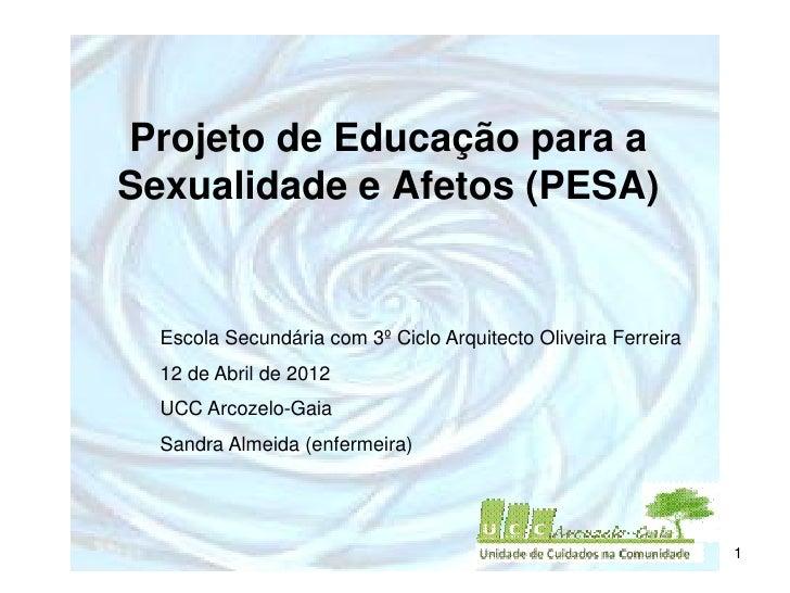 Projeto de Educação para aSexualidade e Afetos (PESA)  Escola Secundária com 3º Ciclo Arquitecto Oliveira Ferreira  12 de ...