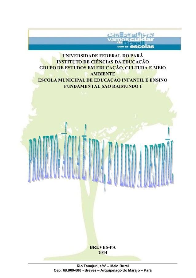 UNIVERSIDADE FEDERAL DO PARÁ INSTITUTO DE CIÊNCIAS DA EDUCAÇÃO GRUPO DE ESTUDOS EM EDUCAÇÃO, CULTURA E MEIO AMBIENTE ESCOL...