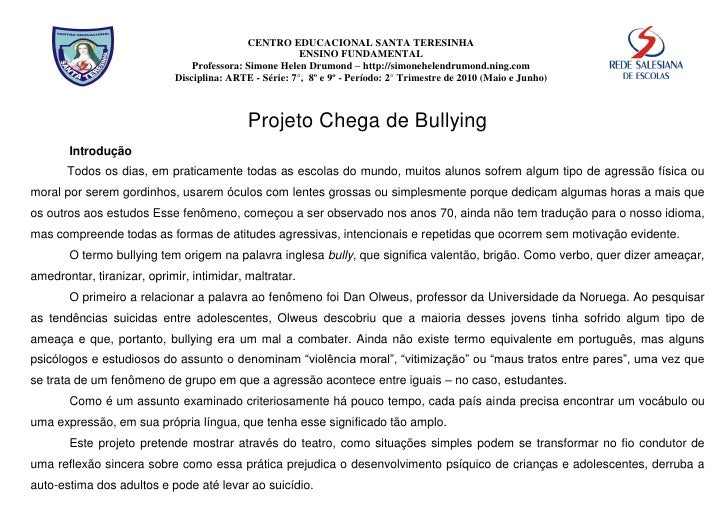 Projeto chega de bullying de simone drumond