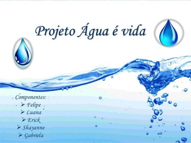 Projeto Água é vida  Componentes:   Felipe   Luana   Erick   Shayanne   Gabriela