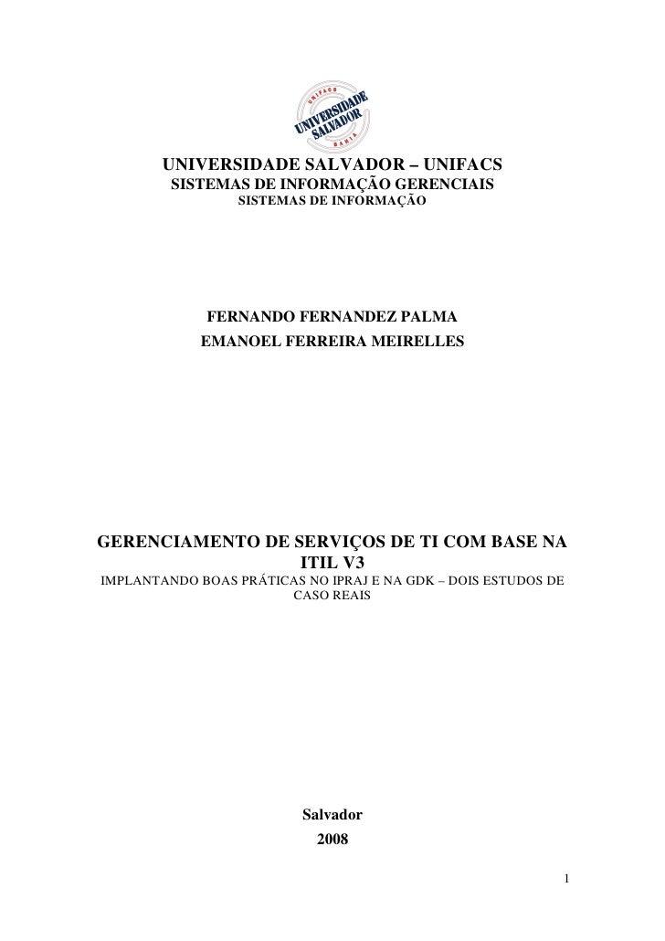 TCC em ITIL: Gestão de serviços de TI - dois estudos de caso