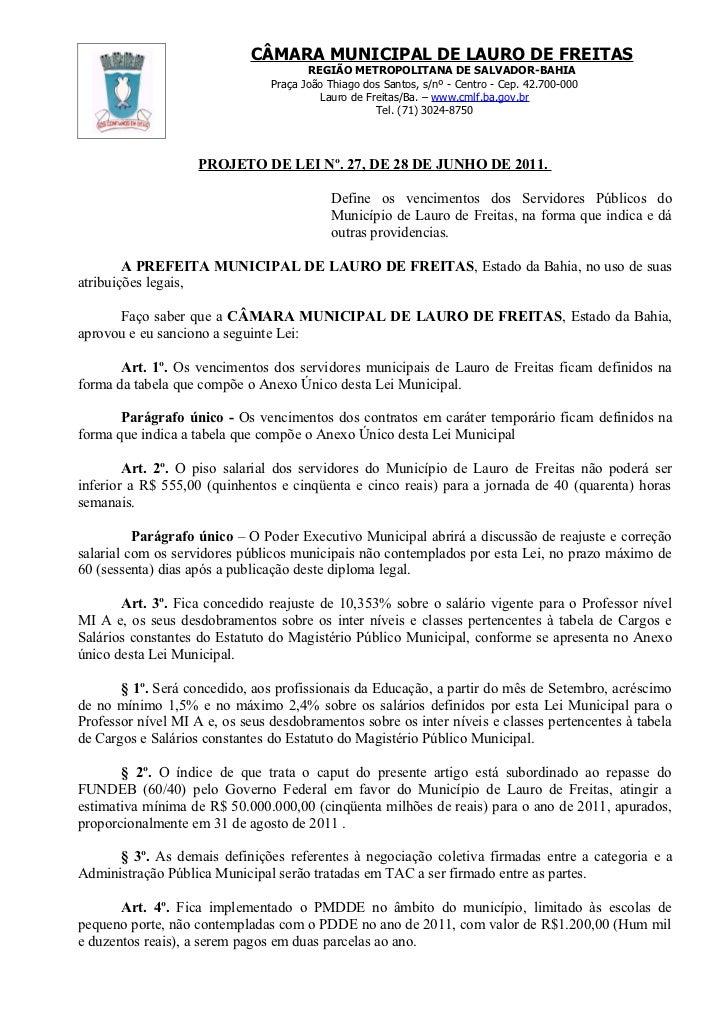 Projeto de Lei nº 027/2011