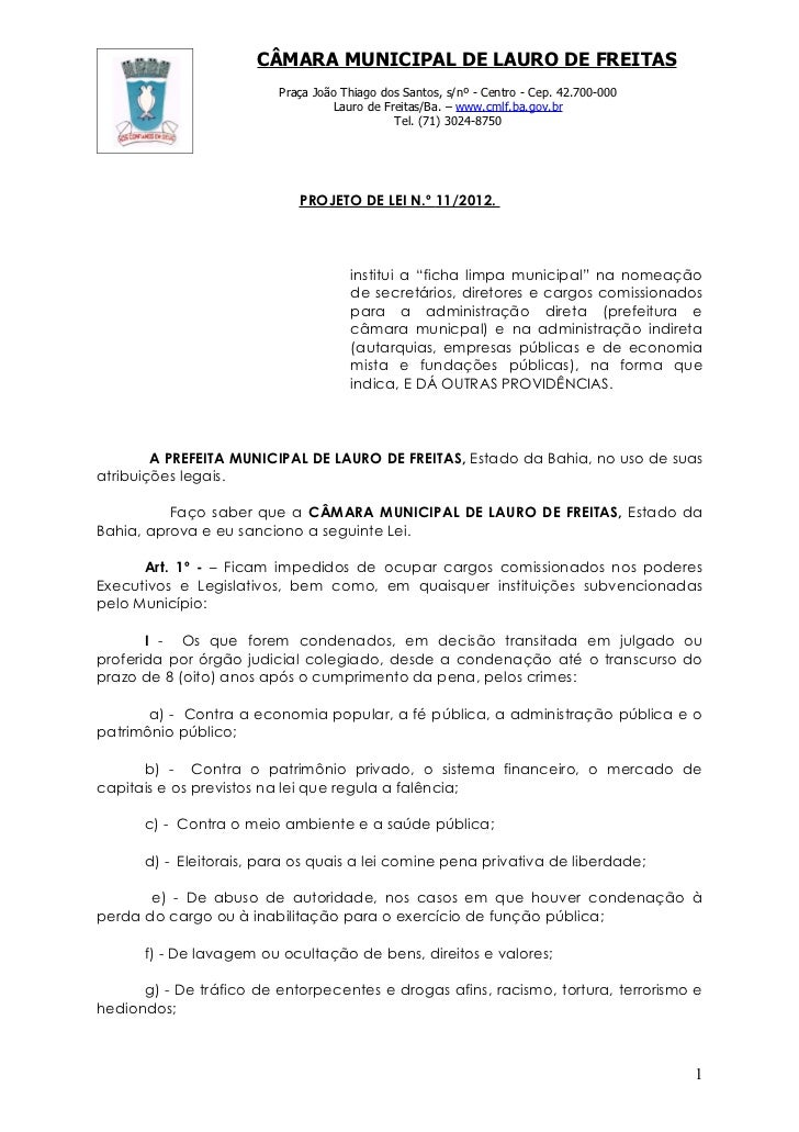 Projeto de Lei nº 11-2012 ficha limpa municipal