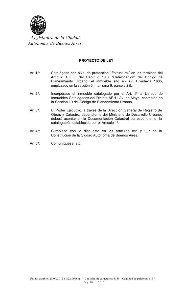Legislatura de la CiudadAutónoma de Buenos Aires                                       PROYECTO DE LEYArt.1º:         Cata...