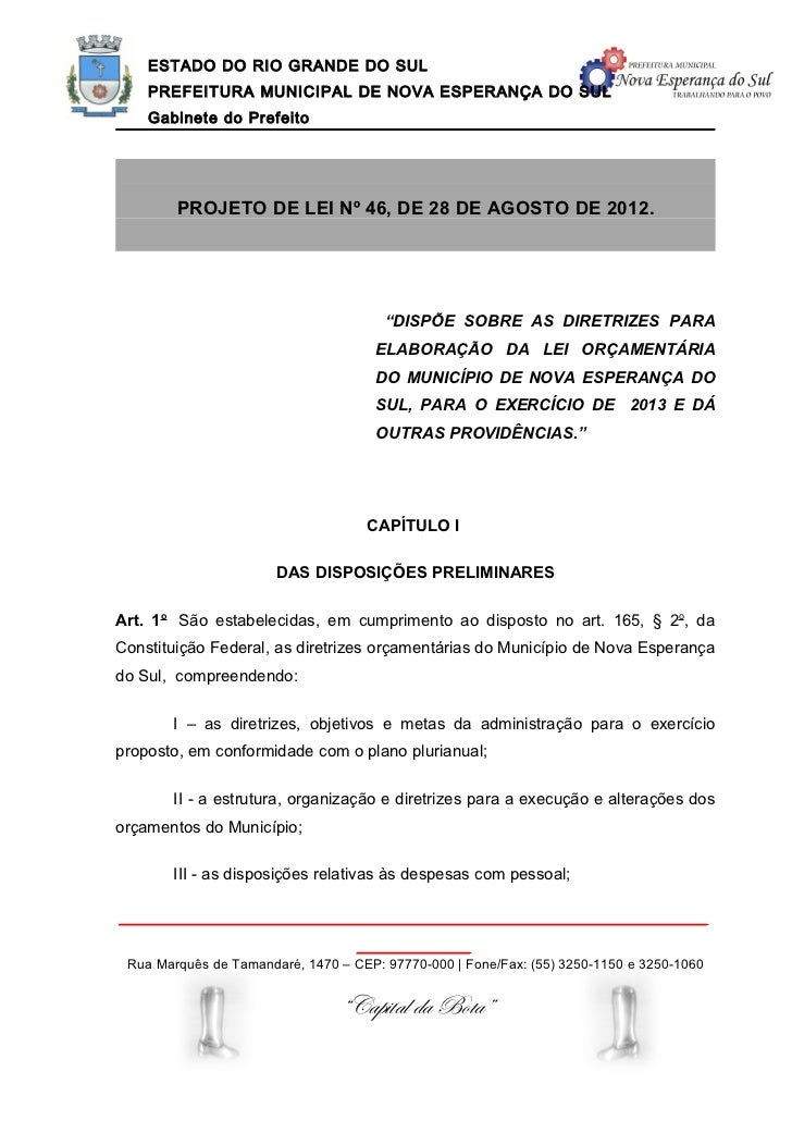 Projeto de lei nº 46 2012 - ldo 2013
