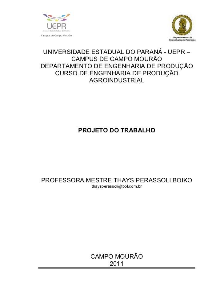 PROJETO DO TRABALHO - APOSTILA - PARTES I E II