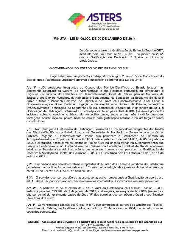 Projeto salarial e justificativa - ASTERS 2014