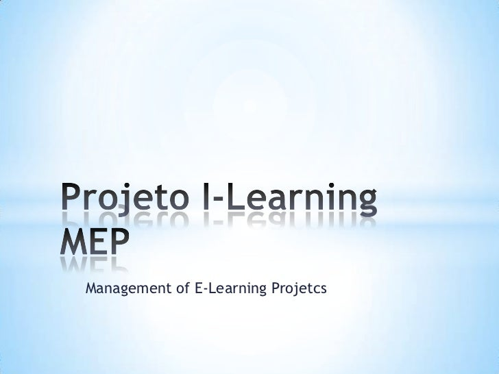 Management of E-Learning Projetcs