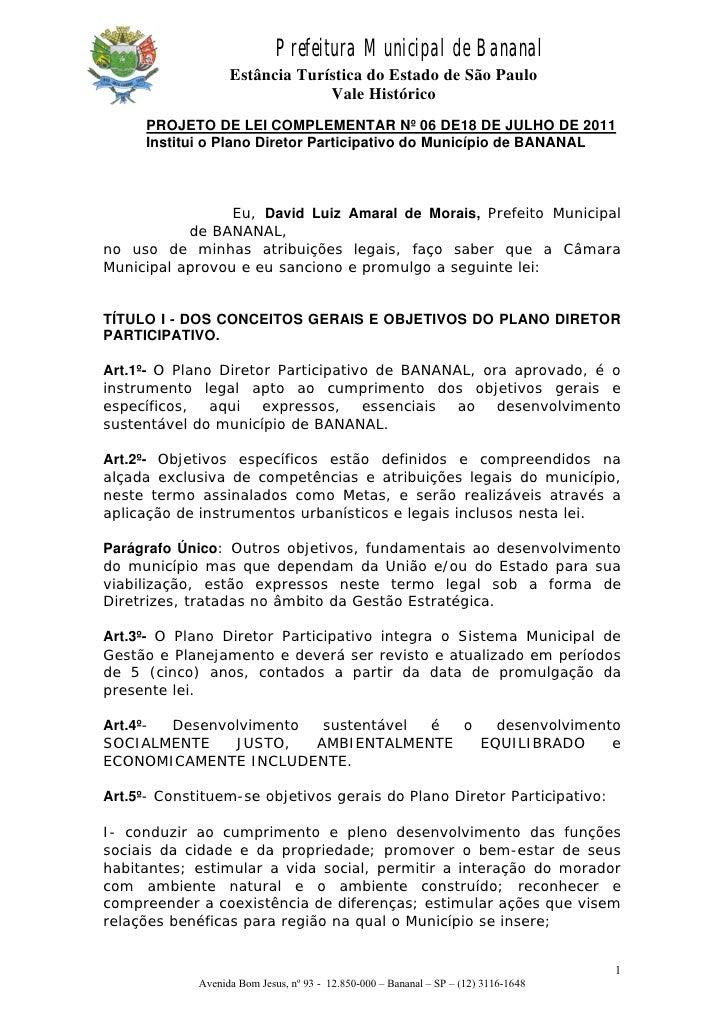 Prefeitura Municipal de Bananal                   Estância Turística do Estado de São Paulo                               ...