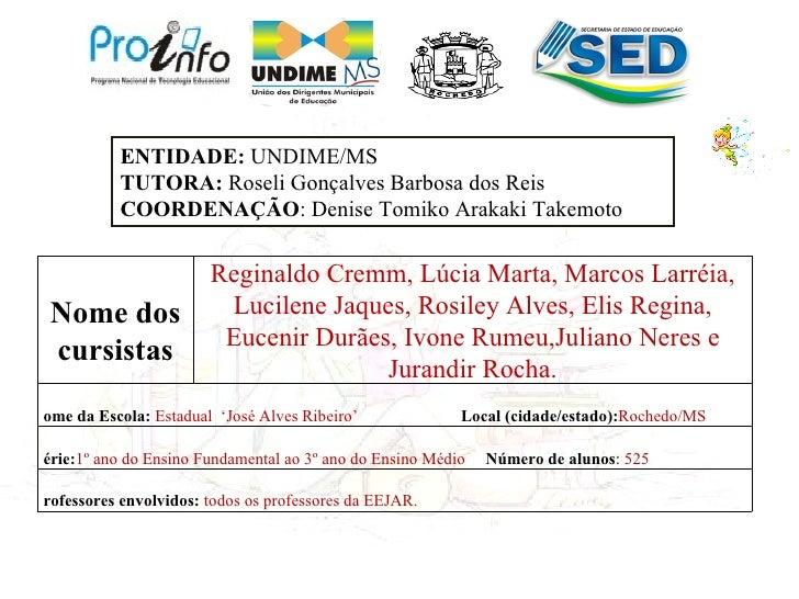 ENTIDADE: UNDIME/MS          TUTORA: Roseli Gonçalves Barbosa dos Reis          COORDENAÇÃO: Denise Tomiko Arakaki Takemot...