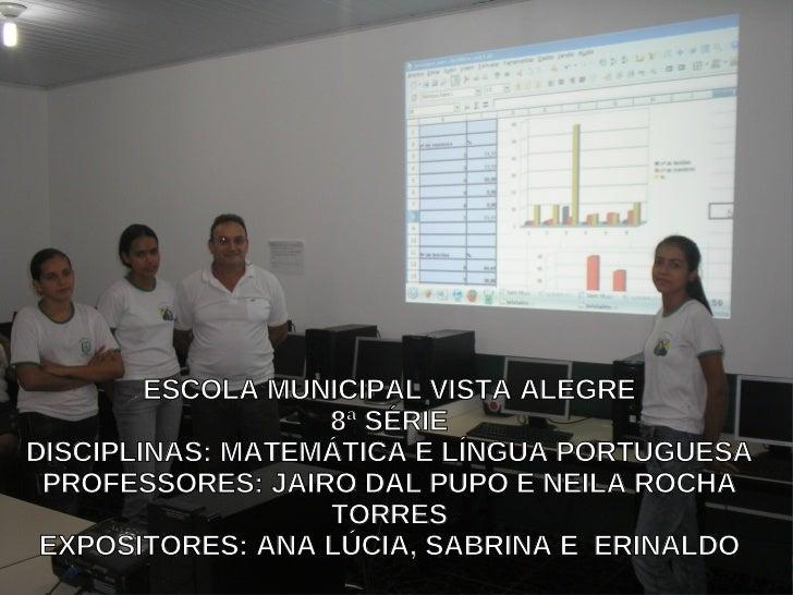 ESCOLA MUNICIPAL VISTA ALEGRE                   8ª SÉRIE DISCIPLINAS: MATEMÁTICA E LÍNGUA PORTUGUESA  PROFESSORES: JAIRO D...