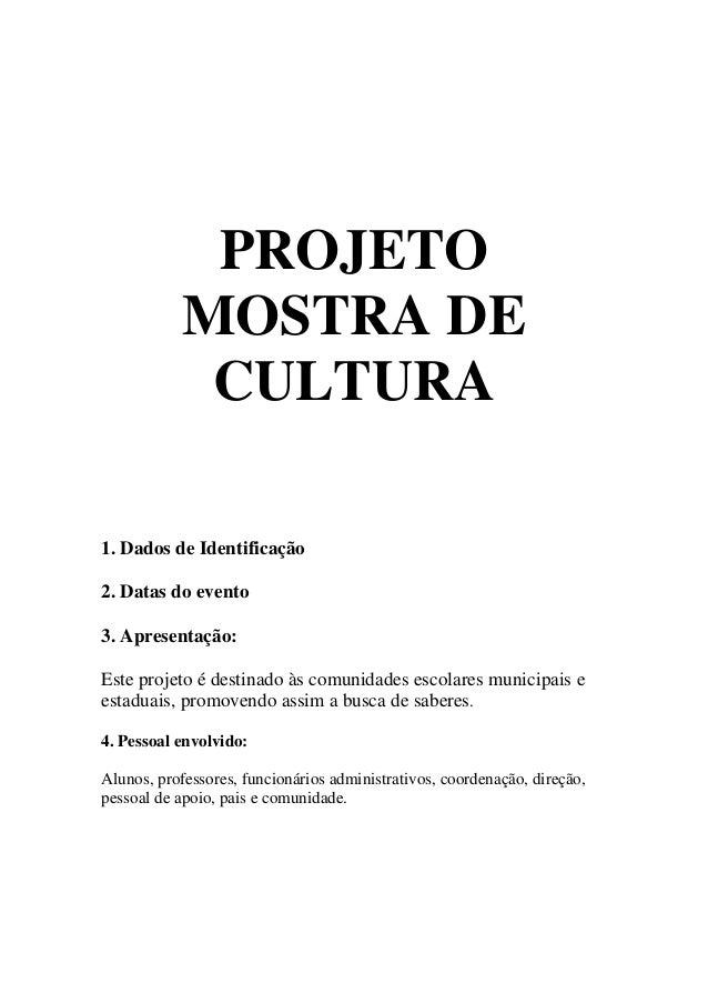 Projeto mostra de cultura  metodologia em oficinas interdisciplinares- anexo
