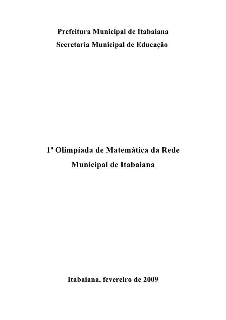 Projeto Olimpiada De Matematica da Rede Municipal de Ensino de Itabaiana