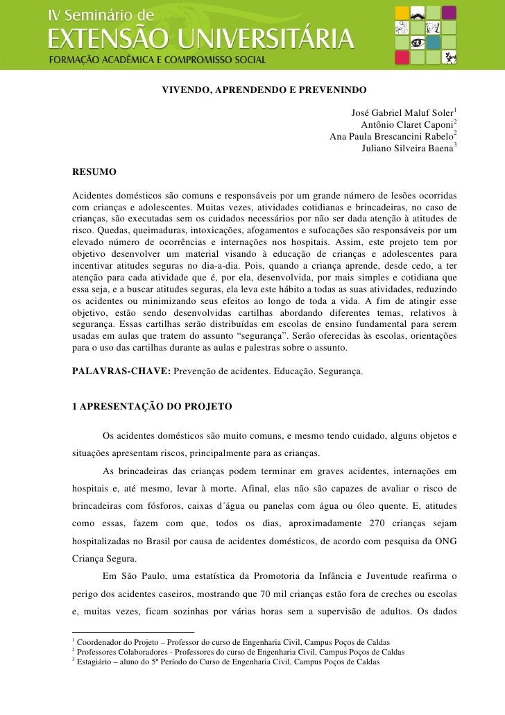 VIVENDO, APRENDENDO E PREVENINDO                                                                              José Gabriel...