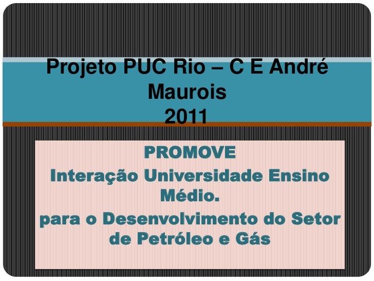 PROMOVE<br />Interação Universidade Ensino Médio.<br />para o Desenvolvimento do Setor de Petróleo e Gás<br />Projeto PUC ...
