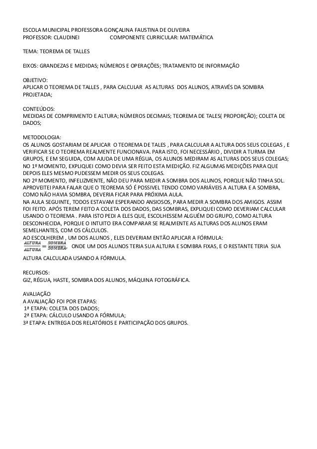 ESCOLA MUNICIPAL PROFESSORA GONÇALINA FAUSTINA DE OLIVEIRAPROFESSOR: CLAUDINEI          COMPONENTE CURRICULAR: MATEMÁTICAT...
