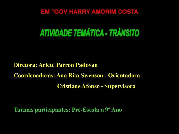 """EM """"GOV HARRY AMORIM COSTADiretora: Arlete Parron PadovanCoordenadoras: Ana Rita Swenson - Orientadora                Cris..."""