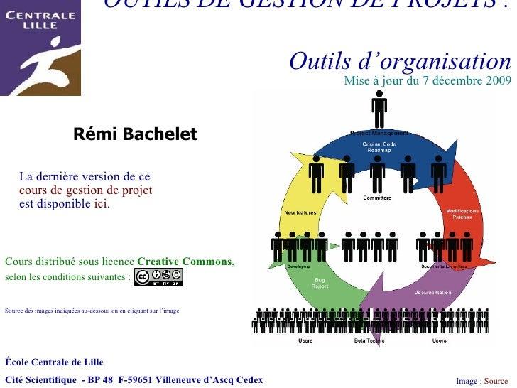 OUTILS DE GESTION DE PROJETS :  Outils d'organisation Image :  Source Rémi Bachelet  Cours distribué sous licence  Creativ...
