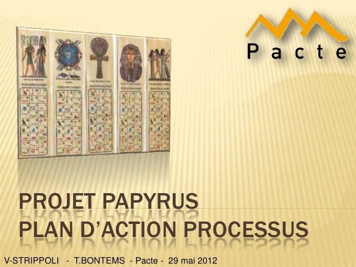 PROJET PAPYRUS   PLAN D'ACTION PROCESSUSV-STRIPPOLI - T.BONTEMS - Pacte - 29 mai 2012