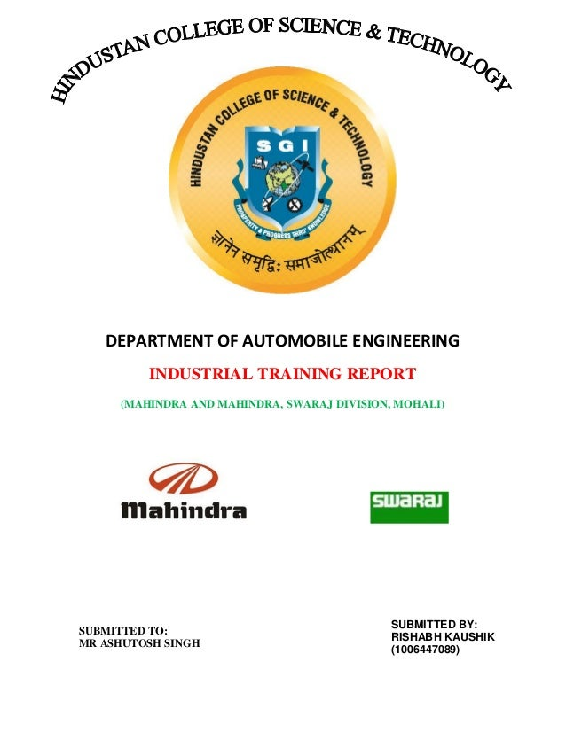 project on mahindra mahindra ltd swaraj division Preeti taunk manager-er at mahindra & mahindra ltd, fes, swaraj division location gurgaon, haryana, india industry automotive.